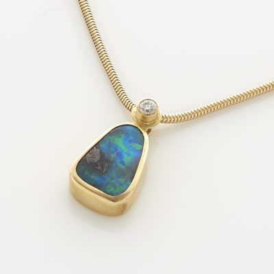 Power Pendant in Opal and Diamond 18ct Gold