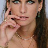 Freeform Opal and diamond hoop Earrings