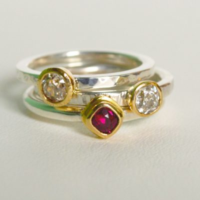 Ruby diamond 18ct gold and silver