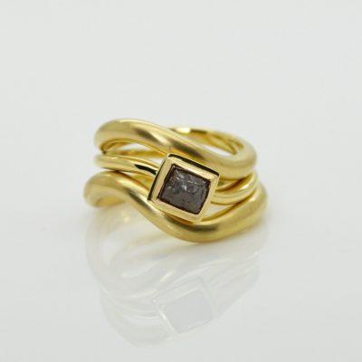 Rough Diamond Wavey Ring