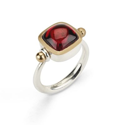 Red Tourmaline Pivot Ring