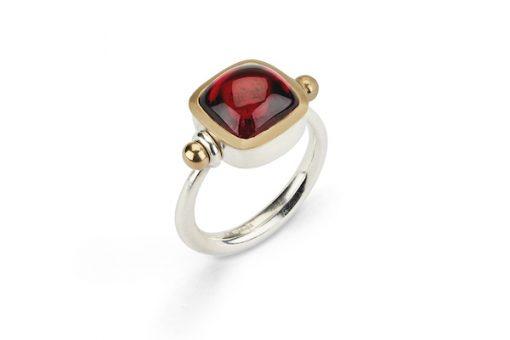 Red Tourmaline Pivot Ring