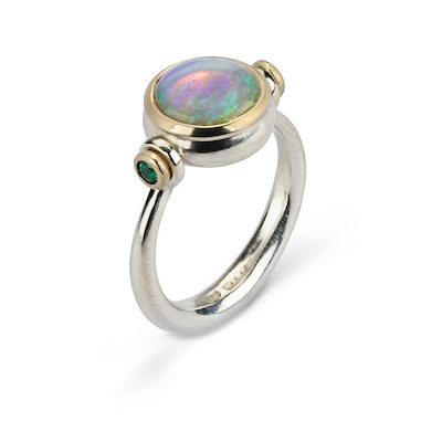 Opal Emerald silver and gold ring