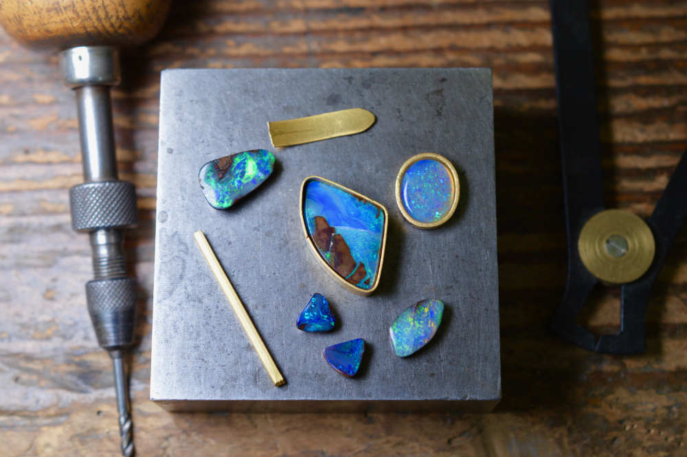 Abby Mosseri - jeweller and goldsmith, Sussex UK-opal earrings and ring bespoke work in progress