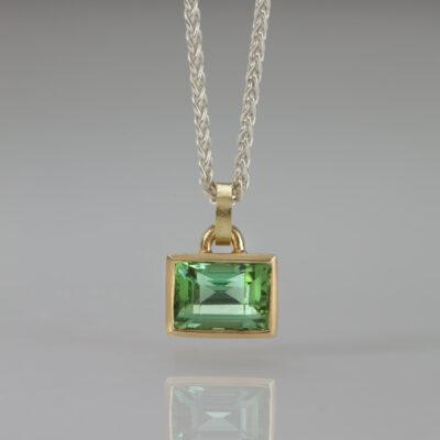 Element Pendant - Mint Green Tourmaline by Designer Goldsmith Abby Mosseri