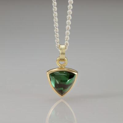 Element Pendant - Green Tourmaline - Trillion Cut - by Designer Goldsmith Abby Mosseri