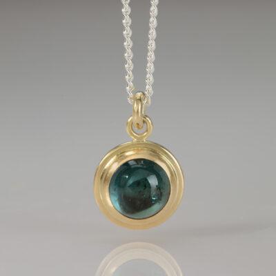 Element Pendant - Indigo Blue Tourmaline - by designer goldsmith Abby Mosseri